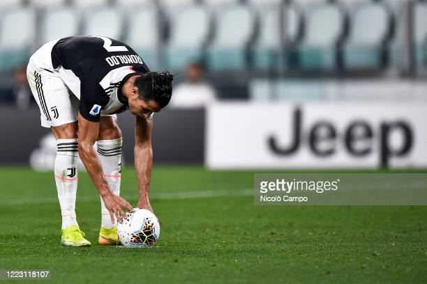 Cristiano Ronaldo of Juventus FC prepares for a penalty kick during the Serie A football match between Juventus FC and US Lecce. Juventus FC won 4-0...