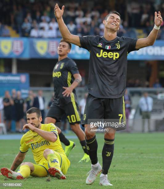 Cristiano Ronaldo of Juventus FC reacts after misses a chance of goal during the serie A match between Chievo Verona and Juventus at Stadio...