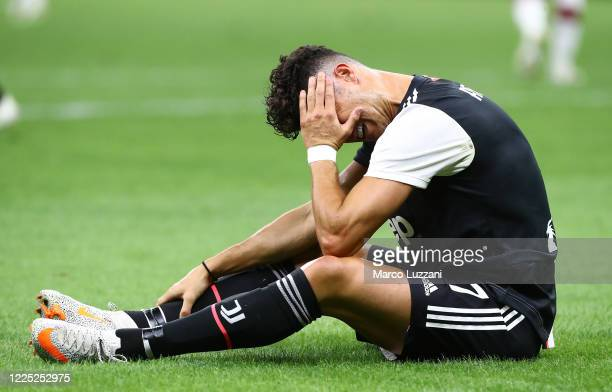Cristiano Ronaldo of Juventus FC reacts during the Serie A match between AC Milan and Juventus at Stadio Giuseppe Meazza on July 7 2020 in Milan Italy