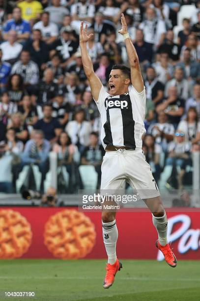 Cristiano Ronaldo of Juventus FC reacts during the Serie A match between Juventus and SSC Napoli at Allianz Stadium on September 29 2018 in Turin...