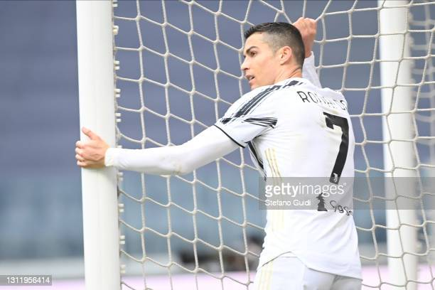 Cristiano Ronaldo of Juventus FC reacts during the Serie A match between Juventus and Genoa CFC at Allianz Stadium on April 11, 2021 in Turin, Italy....