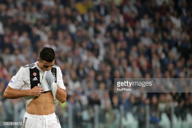 Cristiano Ronaldo of Juventus FC reacts to a missed chance during the serie A match between Juventus FC and Genoa CFC at Allianz Stadium on October...