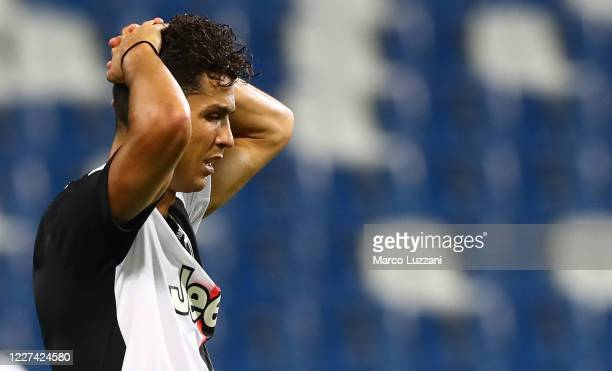 Cristiano Ronaldo of Juventus FC reacts to a missed chance during the Serie A match between US Sassuolo and Juventus at Mapei Stadium Citta del...
