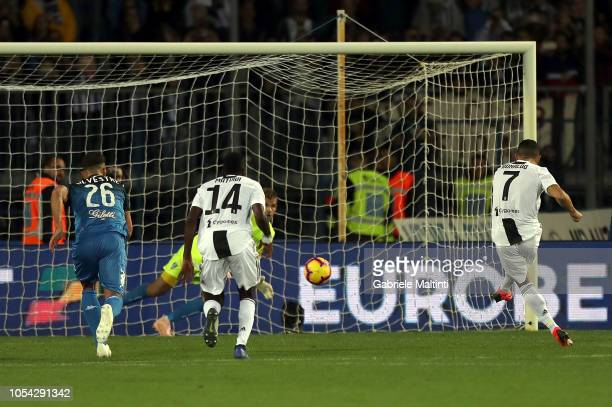 Cristiano Ronaldo of Juventus FC scores a goal during the Serie A match between Empoli and Juventus at Stadio Carlo Castellani on October 27 2018 in...