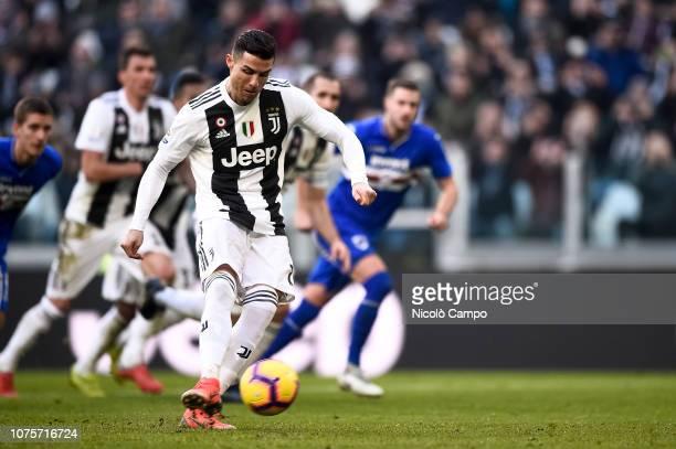 Cristiano Ronaldo of Juventus FC scores a goal during the Serie A football match between Juventus FC and UC Sampdoria Juventus FC won 21 over UC...