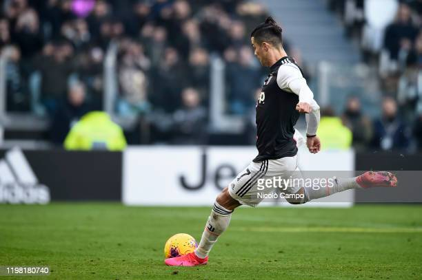 Cristiano Ronaldo of Juventus FC scores a goal from a penalty kick during the Serie A football match between Juventus FC and ACF Fiorentina. Juventus...