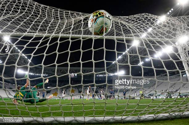 Cristiano Ronaldo of Juventus FC scores a goal from a penalty kick during the Serie A football match between Juventus FC and US Lecce. Juventus FC...