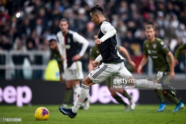 Cristiano Ronaldo of Juventus FC scores a goal from penalty kick during the Serie A football match between Juventus FC and Cagliari Calcio. Juventus...