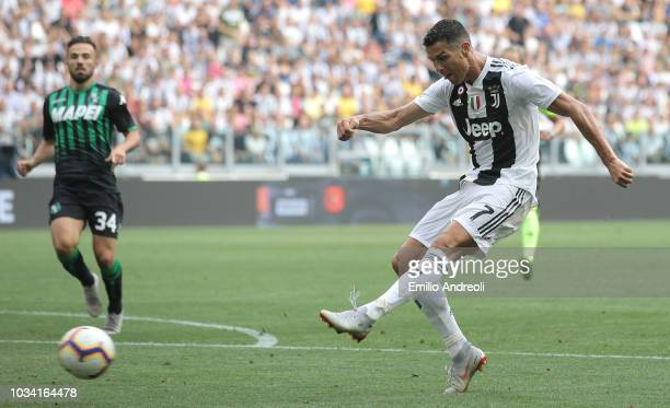 Cristiano Ronaldo of Juventus FC scores his second goal during the serie A match between Juventus and US Sassuolo at Allianz Stadium on September 16...