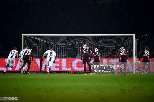 Cristiano Ronaldo of Juventus FC scores the winning goal during the Serie A football match between Torino FC and Juventus FC Juventus FC won 10 over...