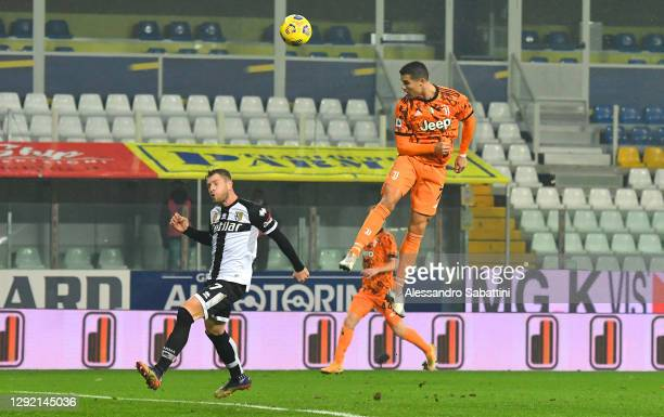 Cristiano Ronaldo of Juventus F.C. Scores their team's second goal during the Serie A match between Parma Calcio and Juventus at Stadio Ennio Tardini...