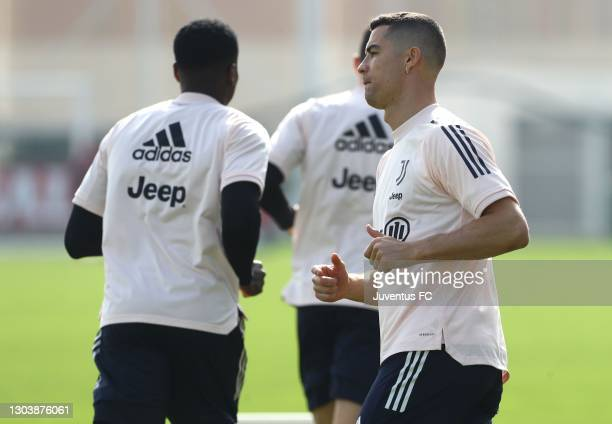 Cristiano Ronaldo of Juventus FC trains during a Juventus FC training session at JTC on February 24, 2021 in Turin, Italy.