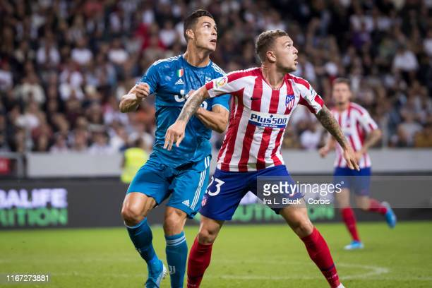 Cristiano Ronaldo of Juventus fights for position against Trippier of Atletico Madrid during the Iinternational Champions Cup Friendly match between...