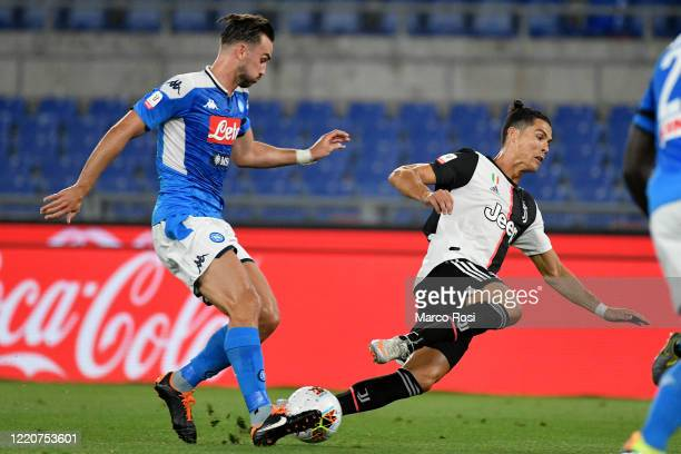 Cristiano Ronaldo of Juventus fights for the ball with Fabian Ruiz of SSC Napoli during the Coppa Italia Final match between Juventus and SSC Napoli...
