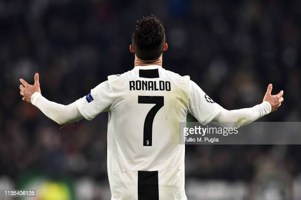 Cristiano Ronaldo of Juventus gestures during the UEFA Champions League Round of 16 Second Leg match between Juventus and Club de Atletico Madrid at...