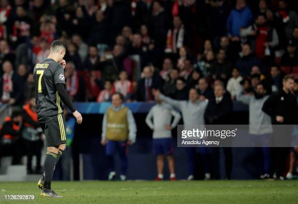 Cristiano Ronaldo of Juventus gestures during UEFA Champions League round of 16 soccer match between Atletico Madrid and Juventus at Wanda...