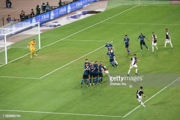 Cristiano Ronaldo of Juventus gets his goal by free kick during the International Champions Cup match between Juventus and FC Internazionale at the...