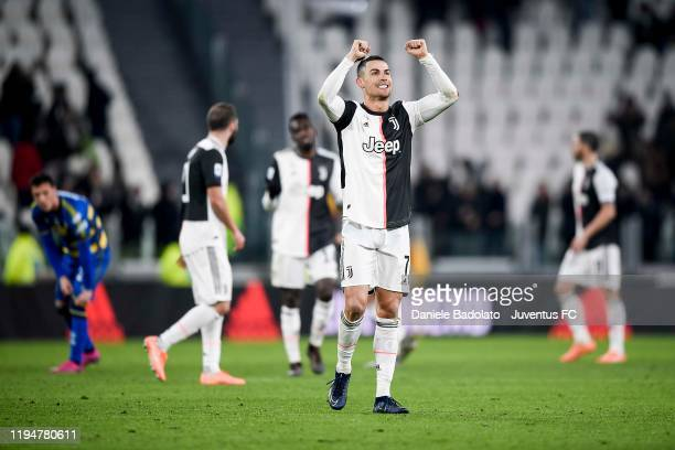 Cristiano Ronaldo of Juventus greets the fans and celebrates the victory after the Serie A match between Juventus and Parma Calcio at Allianz Stadium...