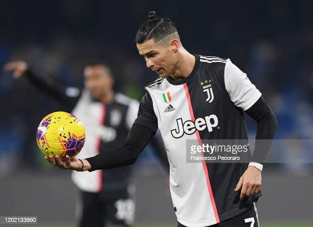 Cristiano Ronaldo of Juventus holds the ball during the Serie A match between SSC Napoli and Juventus at Stadio San Paolo on January 26 2020 in...