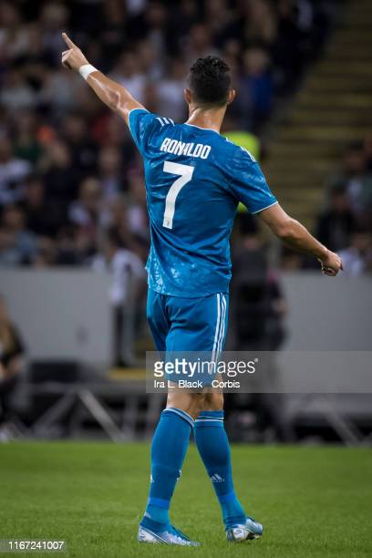 Cristiano Ronaldo of Juventus holds up the number 1 during the international Champions Cup Friendly match between Atletico de Madrid and Juventus FC...