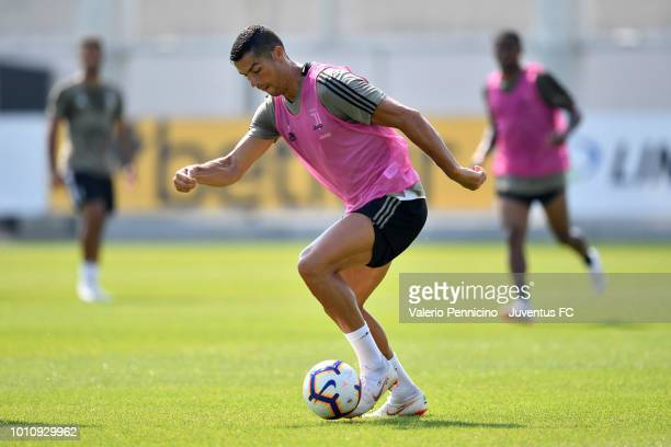 Cristiano Ronaldo of Juventus in action during a training session at JTC on August 4 2018 in Turin Italy