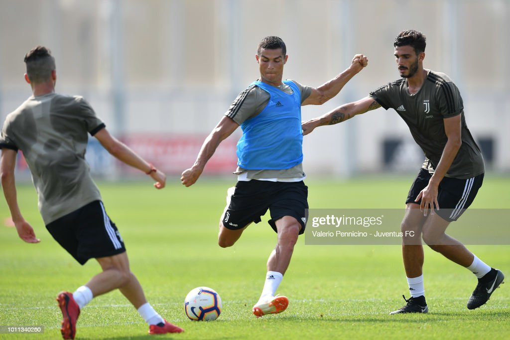 Cristiano Ronaldo of Juventus in action during a training session at JTC on August 5, 2018 in Turin, Italy.