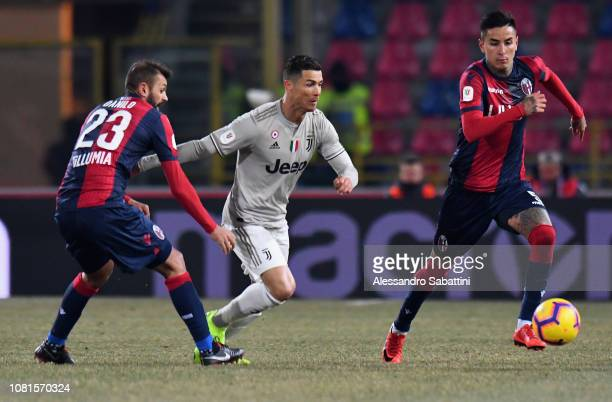 Cristiano Ronaldo of Juventus in action during the Coppa Italia match between Bologna FC and Juventus at Stadio Renato Dall'Ara on January 12 2019 in...