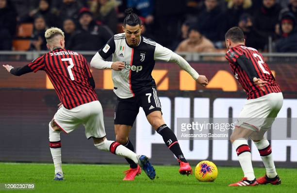 Cristiano Ronaldo of Juventus in action during the Coppa Italia Semi Final match between AC Milan and Juventus at Stadio Giuseppe Meazza on February...