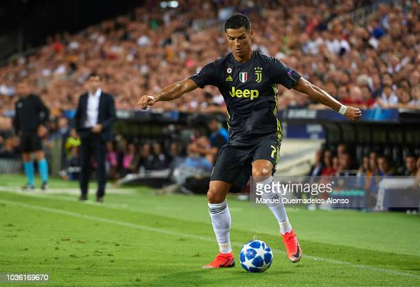 Cristiano Ronaldo of Juventus in action during the Group H match of the UEFA Champions League between Valencia and Juventus at Estadio Mestalla on...