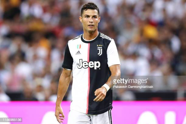 Cristiano Ronaldo of Juventus in action during the International Champions Cup match between Juventus and Tottenham Hotspur at the Singapore National...