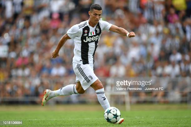 Cristiano Ronaldo of Juventus in action during the Pre-Season Friendly match between Juventus and Juventus U19 on August 12, 2018 in Villar Perosa,...