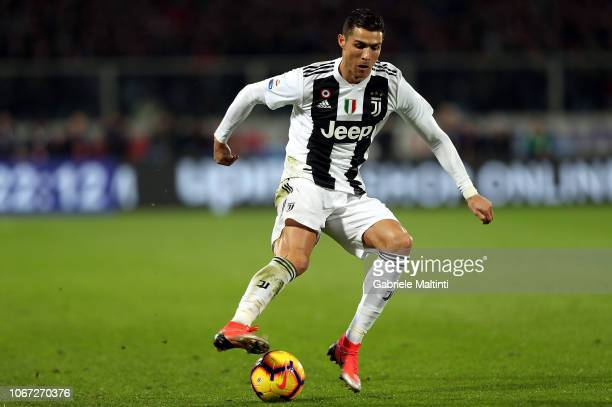 Cristiano Ronaldo of Juventus in action during the Serie A match between ACF Fiorentina and Juventus at Stadio Artemio Franchi on December 1 2018 in...