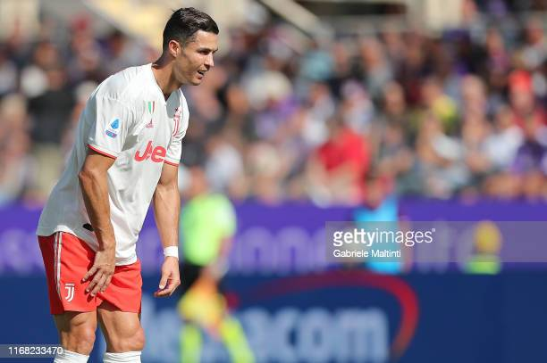 Cristiano Ronaldo of Juventus in action during the Serie A match between ACF Fiorentina and Juventus at Stadio Artemio Franchi on September 14 2019...