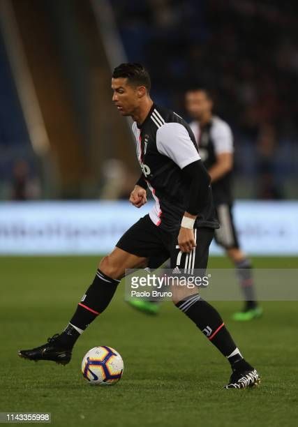 Cristiano Ronaldo of Juventus in action during the Serie A match between AS Roma and Juventus at Stadio Olimpico on May 12 2019 in Rome Italy
