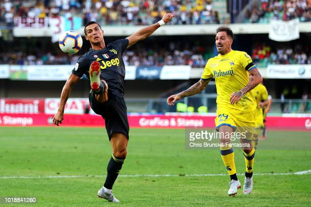 Cristiano Ronaldo of Juventus in action during the Serie A match between Chievo Verona and Juventus at Stadio Marc'Antonio Bentegodi on August 18...