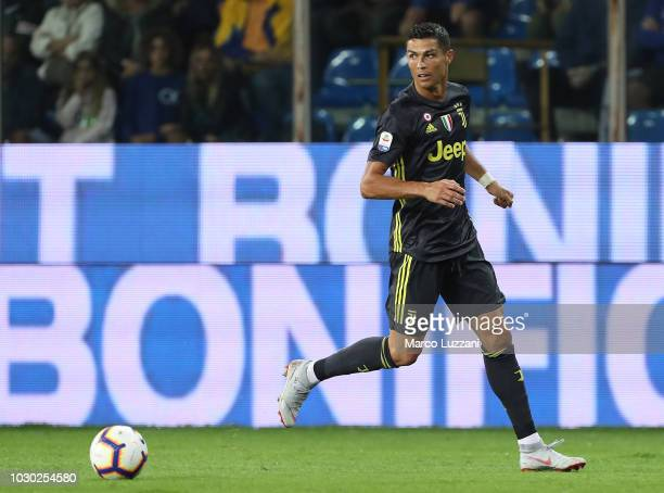 Cristiano Ronaldo of Juventus in action during the serie A match between Parma Calcio and Juventus at Stadio Ennio Tardini on September 1 2018 in...