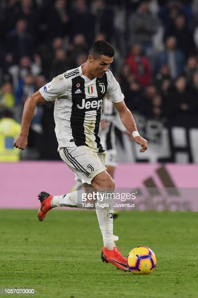 Cristiano Ronaldo of Juventus in action during the Serie A match between Juventus and Cagliari on November 3 2018 in Turin Italy