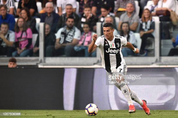 Cristiano Ronaldo of Juventus in action during the Serie A match between Juventus and Genoa CFC at Allianz Stadium on October 20 2018 in Turin Italy