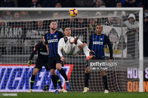 Cristiano Ronaldo of Juventus in action during the Serie A match between Juventus and FC Internazionale at Allianz Stadium on December 7 2018 in...