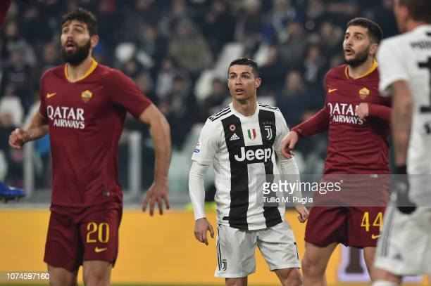 Cristiano Ronaldo of Juventus in action during the Serie A match between Juventus and AS Roma on December 22 2018 in Turin Italy