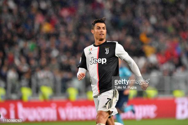 Cristiano Ronaldo of Juventus in action during the Serie A match between Juventus and Atalanta BC on May 19 2019 in Turin Italy