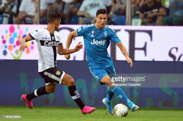 Cristiano Ronaldo of Juventus in action during the Serie A match between Parma Calcio and Juventus at Stadio Ennio Tardini on August 24 2019 in Parma...