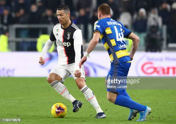 Cristiano Ronaldo of Juventus in action during the Serie A match between Juventus and Parma Calcio at Allianz Stadium on January 19 2020 in Turin...
