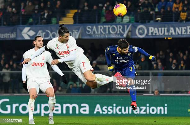 Cristiano Ronaldo of Juventus in action during the Serie A match between Hellas Verona and Juventus at Stadio Marcantonio Bentegodi on February 8...