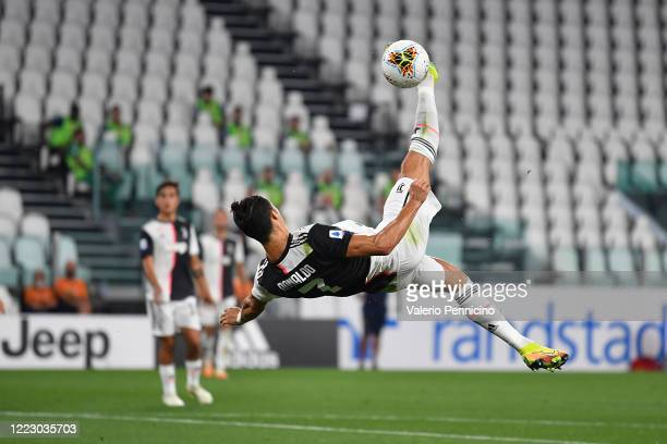 Cristiano Ronaldo of Juventus in action during the Serie A match between Juventus and US Lecce at Allianz Stadium on June 26 2020 in Turin Italy