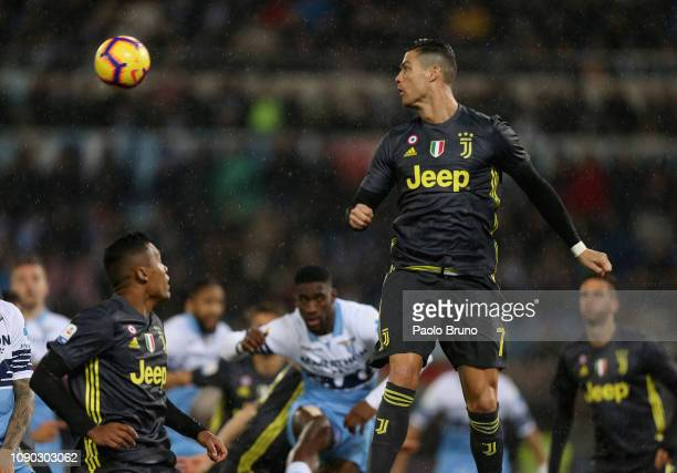 Cristiano Ronaldo of Juventus in action during the Serie A match between SS Lazio and Juventus at Stadio Olimpico on January 27 2019 in Rome Italy