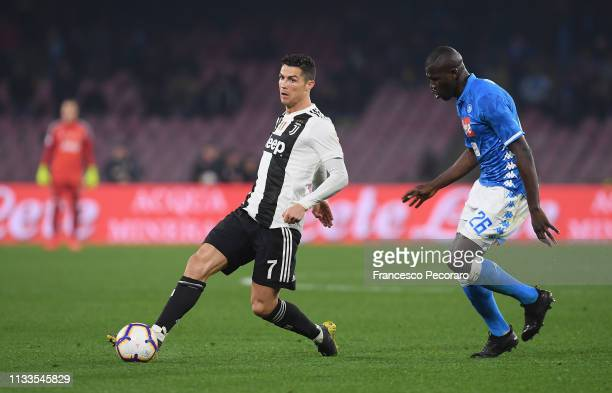 Cristiano Ronaldo of Juventus in action during the Serie A match between SSC Napoli and Juventus at Stadio San Paolo on March 3 2019 in Naples Italy
