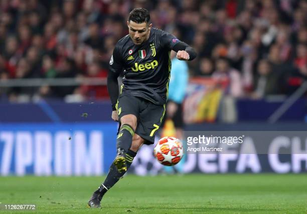 Cristiano Ronaldo of Juventus in action during the UEFA Champions League Round of 16 First Leg match between Club Atletico de Madrid and Juventus at...