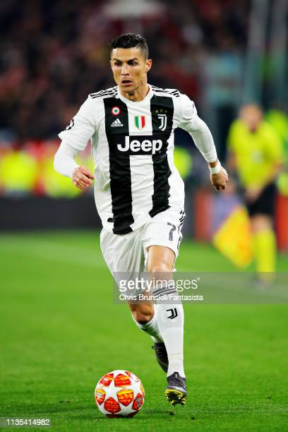 Cristiano Ronaldo of Juventus in action during the UEFA Champions League Round of 16 Second Leg match between Juventus and Club de Atletico Madrid at...