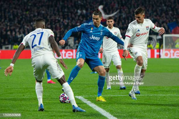 Cristiano Ronaldo of Juventus in action during the UEFA Champions League round of 16 first leg match between Olympique Lyon and Juventus at Parc...